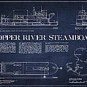 Copper River Steamboats Blueprint Art Print