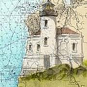 Coquille River Lighthouse Or Nautical Chart Map Art Cathy Peek Art Print
