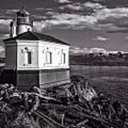 Coquille River Lighthouse Upriver Bw Art Print