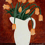 Coral Tulips In A Milk Pitcher Art Print