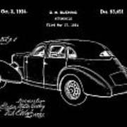 Cord Automobile Patent 1934 - Black Art Print