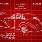 Cord Automobile Patent 1934 - Red Art Print