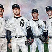 Core 4 Yankees  Art Print by Michael  Pattison