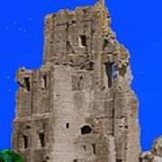 Corfe Castle Ruins Art Print