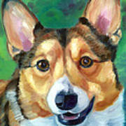 Corgi Smile Art Print by Lyn Cook