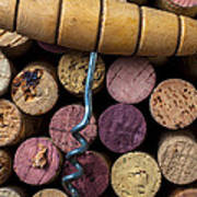 Corkscrew On Top Of Wine Corks Art Print by Garry Gay