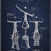 Corkscrew Patent Drawing From 1883 Art Print