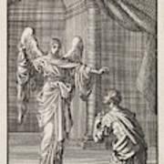 Cornelius Kneels Before The Angel Sent Art Print