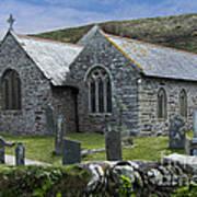 Cornish Seascape St Winwaloe Church Art Print