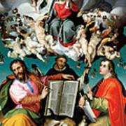 Coronation Of The Virgin With Saints Luke Dominic And John The Evangelist Art Print