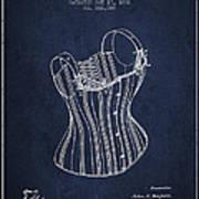 Corset Patent From 1882 - Navy Blue Art Print