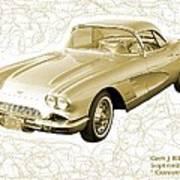 Corvette Sport Car Catus 1 No 2 Art Print