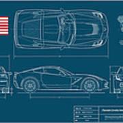 Corvette Stingray Blueplanprint Art Print