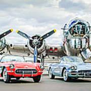 Corvettes With B17 Bomber Art Print
