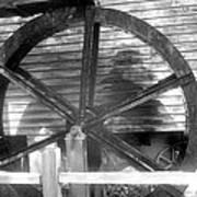 Cosley Mill Waterwheel In Black And White Art Print