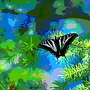 Cosmic Butterfly In The Pines Art Print