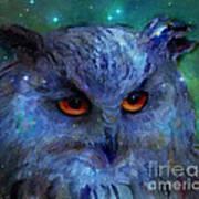 Cosmic Owl Painting Art Print