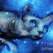 Cosmic Sphynx Cat  Art Print
