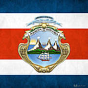 Costa Rica Coat Of Arms And Flag  Art Print