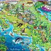 Costa Rica Map Illustration Art Print