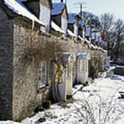 Cotswolds Cottages In Winter  Art Print