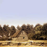 Cottage And Splitrail Fence Art Print