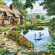 Cottage By The Lake Art Print
