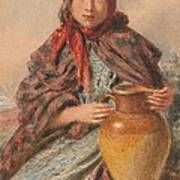 Cottage Girl Seated With A Pitcher Art Print