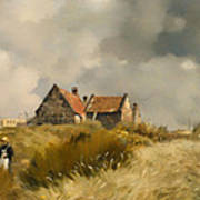 Cottage In The Dunes Art Print