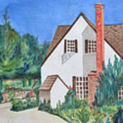 Cottage On A Hill Art Print