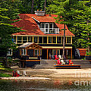Cottage On A Lake Art Print
