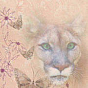 Cougar And Butterflies Art Print