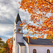 Country Church Under Fall Colors Art Print