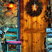 Country Cottage Door At Christmas Art Print