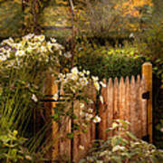 Country - Country Autumn Garden  Art Print by Mike Savad