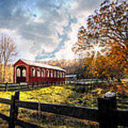 Country Covered Bridge Art Print by Debra and Dave Vanderlaan