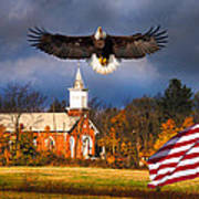 country Eagle Church Flag Patriotic Art Print