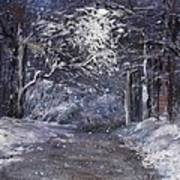 Country Road On A Wintery Night Art Print