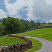 Country Road With Limestone Fence Art Print