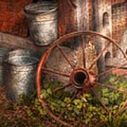 Country - Some Dented Pails And An Old Wheel  Art Print