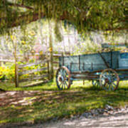 Country - The Old Wagon Out Back  Art Print by Mike Savad