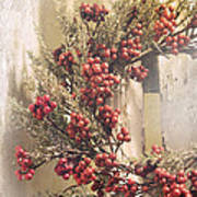 Country Wreath With Red Berries Art Print