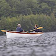Couple Boating On Lake, Maine, Usa Art Print