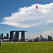 Couple Flies Kite Marina Bay Sands Singapore Art Print
