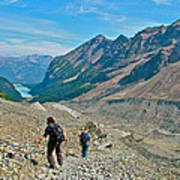 Couple Hiking On Plain Of Six Glaciers Trail  In Banff Np-albert Art Print