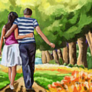 Couple In The Park 01 Art Print