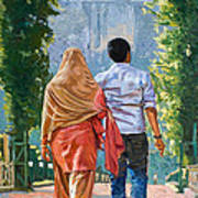 Couple Under The Leafy Arch Art Print
