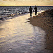 Couple Walking On A Beach Art Print