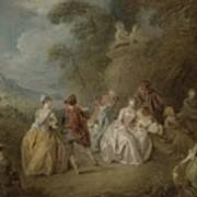 Courtly Scene In A Park, C.1730-35 Art Print