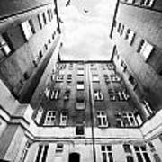 Courtyard In Black And White Art Print